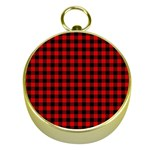 Lumberjack Plaid Fabric Pattern Red Black Gold Compasses Front