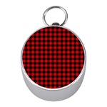 Lumberjack Plaid Fabric Pattern Red Black Mini Silver Compasses Front