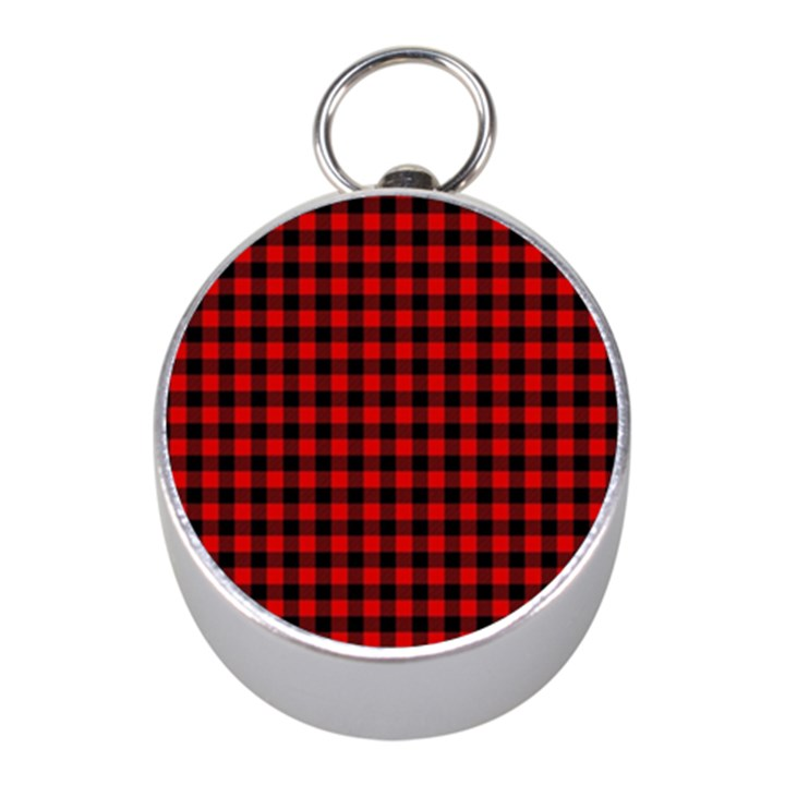 Lumberjack Plaid Fabric Pattern Red Black Mini Silver Compasses