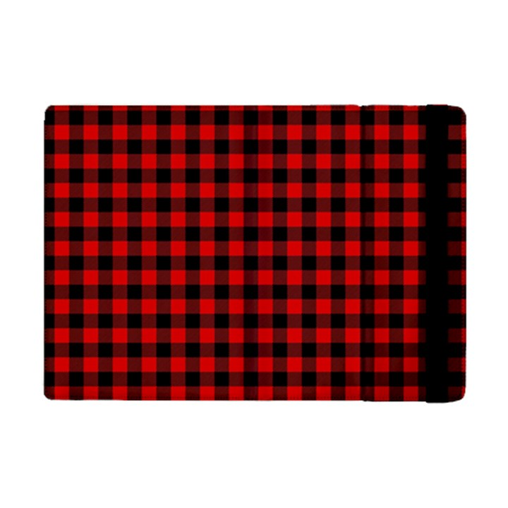 Lumberjack Plaid Fabric Pattern Red Black iPad Mini 2 Flip Cases