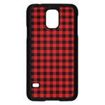 Lumberjack Plaid Fabric Pattern Red Black Samsung Galaxy S5 Case (Black) Front