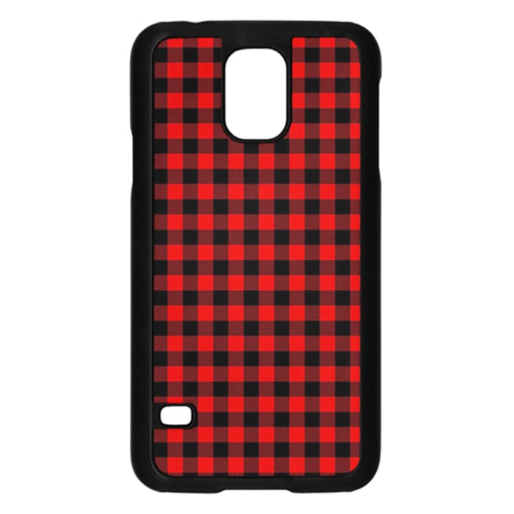 Lumberjack Plaid Fabric Pattern Red Black Samsung Galaxy S5 Case (Black)