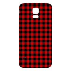 Lumberjack Plaid Fabric Pattern Red Black Samsung Galaxy S5 Back Case (White)