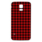 Lumberjack Plaid Fabric Pattern Red Black Samsung Galaxy S5 Back Case (White) Front