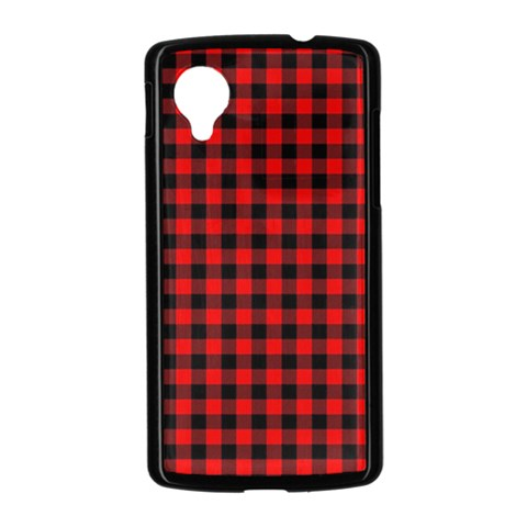 Lumberjack Plaid Fabric Pattern Red Black Nexus 5 Case (Black)