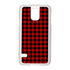Lumberjack Plaid Fabric Pattern Red Black Samsung Galaxy S5 Case (white)
