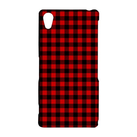 Lumberjack Plaid Fabric Pattern Red Black Sony Xperia Z2