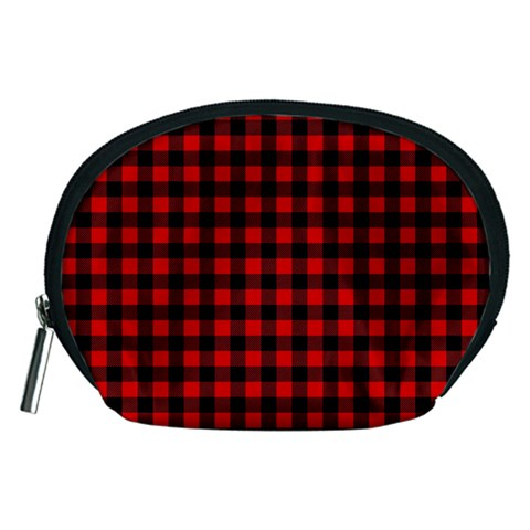 Lumberjack Plaid Fabric Pattern Red Black Accessory Pouches (Medium)