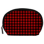 Lumberjack Plaid Fabric Pattern Red Black Accessory Pouches (Large)  Front