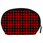 Lumberjack Plaid Fabric Pattern Red Black Accessory Pouches (Large)  Back