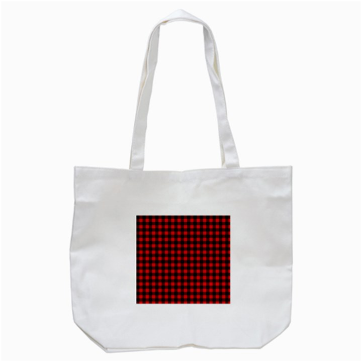 Lumberjack Plaid Fabric Pattern Red Black Tote Bag (White)