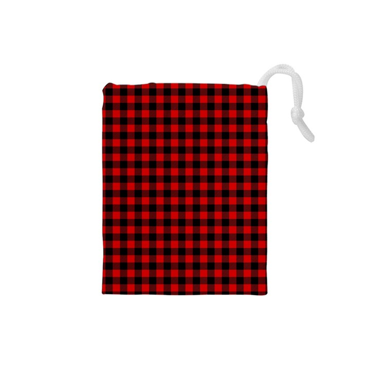 Lumberjack Plaid Fabric Pattern Red Black Drawstring Pouches (Small)