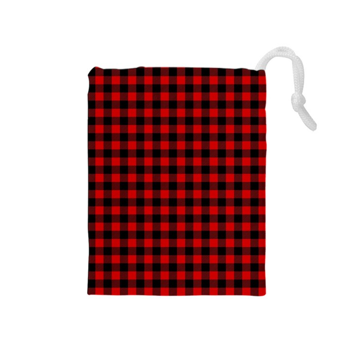 Lumberjack Plaid Fabric Pattern Red Black Drawstring Pouches (Medium)