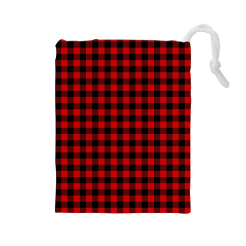 Lumberjack Plaid Fabric Pattern Red Black Drawstring Pouches (Large)