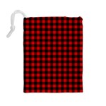 Lumberjack Plaid Fabric Pattern Red Black Drawstring Pouches (Large)  Back
