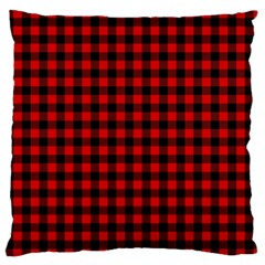 Lumberjack Plaid Fabric Pattern Red Black Large Flano Cushion Case (One Side)