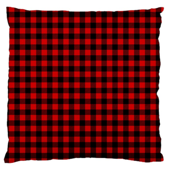 Lumberjack Plaid Fabric Pattern Red Black Large Flano Cushion Case (Two Sides)