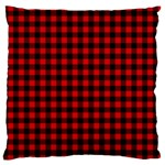 Lumberjack Plaid Fabric Pattern Red Black Large Flano Cushion Case (Two Sides) Back