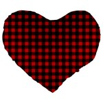 Lumberjack Plaid Fabric Pattern Red Black Large 19  Premium Flano Heart Shape Cushions Front