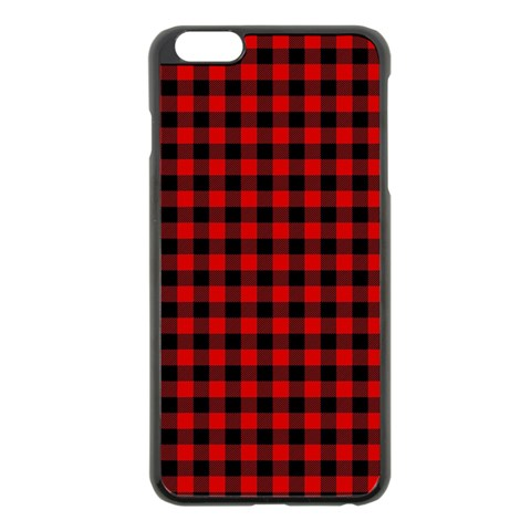 Lumberjack Plaid Fabric Pattern Red Black Apple iPhone 6 Plus/6S Plus Black Enamel Case