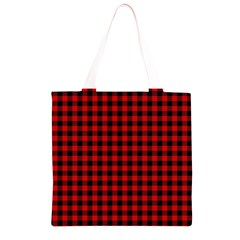 Lumberjack Plaid Fabric Pattern Red Black Grocery Light Tote Bag
