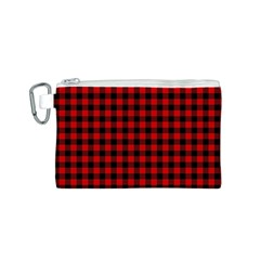 Lumberjack Plaid Fabric Pattern Red Black Canvas Cosmetic Bag (s)
