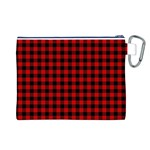 Lumberjack Plaid Fabric Pattern Red Black Canvas Cosmetic Bag (L) Back