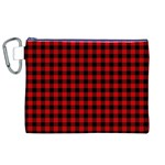 Lumberjack Plaid Fabric Pattern Red Black Canvas Cosmetic Bag (XL) Front
