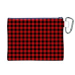 Lumberjack Plaid Fabric Pattern Red Black Canvas Cosmetic Bag (XL) Back
