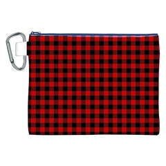 Lumberjack Plaid Fabric Pattern Red Black Canvas Cosmetic Bag (XXL)