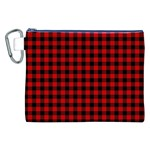 Lumberjack Plaid Fabric Pattern Red Black Canvas Cosmetic Bag (XXL) Front