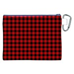 Lumberjack Plaid Fabric Pattern Red Black Canvas Cosmetic Bag (XXL) Back