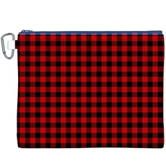 Lumberjack Plaid Fabric Pattern Red Black Canvas Cosmetic Bag (XXXL)