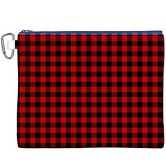 Lumberjack Plaid Fabric Pattern Red Black Canvas Cosmetic Bag (xxxl)