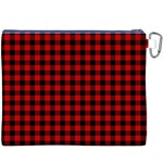 Lumberjack Plaid Fabric Pattern Red Black Canvas Cosmetic Bag (XXXL) Back