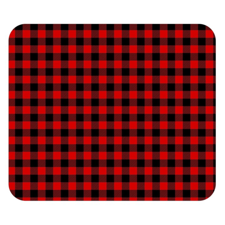 Lumberjack Plaid Fabric Pattern Red Black Double Sided Flano Blanket (Small)