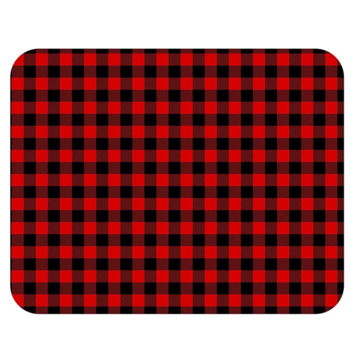 Lumberjack Plaid Fabric Pattern Red Black Double Sided Flano Blanket (Medium)