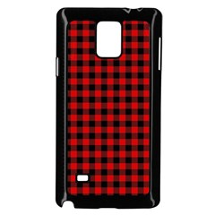 Lumberjack Plaid Fabric Pattern Red Black Samsung Galaxy Note 4 Case (Black)
