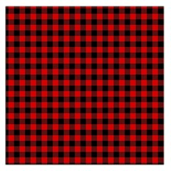 Lumberjack Plaid Fabric Pattern Red Black Large Satin Scarf (Square)