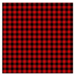 Lumberjack Plaid Fabric Pattern Red Black Large Satin Scarf (Square) Front