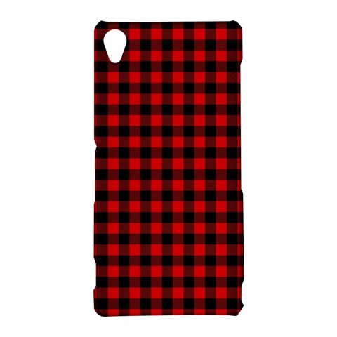 Lumberjack Plaid Fabric Pattern Red Black Sony Xperia Z3