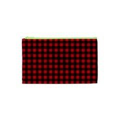 Lumberjack Plaid Fabric Pattern Red Black Cosmetic Bag (XS)