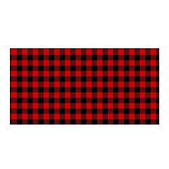 Lumberjack Plaid Fabric Pattern Red Black Satin Wrap