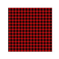Lumberjack Plaid Fabric Pattern Red Black Small Satin Scarf (Square)