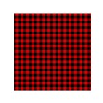 Lumberjack Plaid Fabric Pattern Red Black Small Satin Scarf (Square) Front