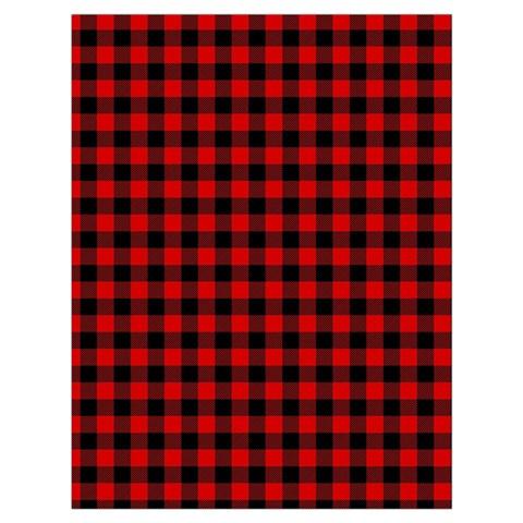 Lumberjack Plaid Fabric Pattern Red Black Drawstring Bag (Large)