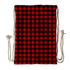 Lumberjack Plaid Fabric Pattern Red Black Drawstring Bag (Large)