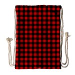 Lumberjack Plaid Fabric Pattern Red Black Drawstring Bag (Large) Front