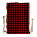 Lumberjack Plaid Fabric Pattern Red Black Drawstring Bag (Large) Back