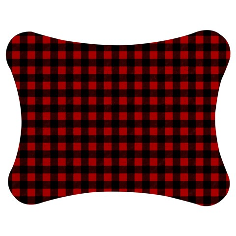 Lumberjack Plaid Fabric Pattern Red Black Jigsaw Puzzle Photo Stand (Bow)